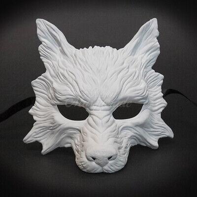 Diy Wolf Halloween Costume (White DIY Wolf Animal Masquerade Mask for Men Halloween)