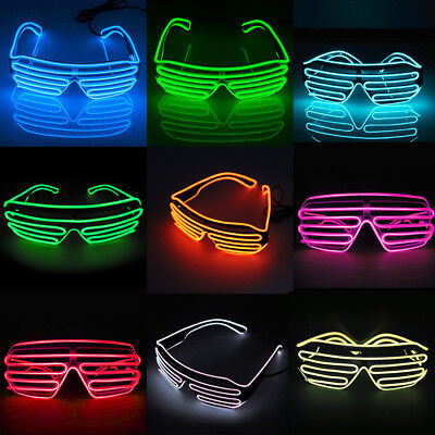 Clubbing LED Light Up Sunglasses EL Glasses Glow Costume Rave Cosplay Party