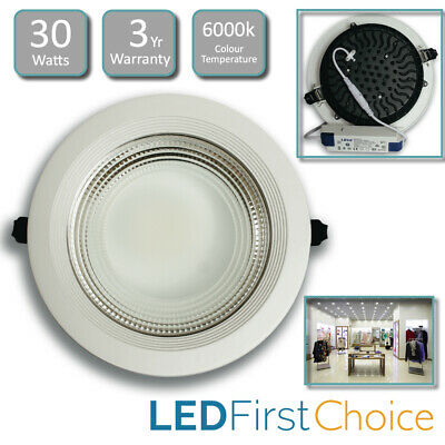 LED Commercial Downlight 30W COB Ceiling Recessed Shop Light Spot Light 6000k