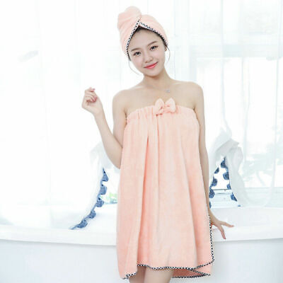 May Towel Wrap Robe Pink Soft Rubber Banding Velcro Light Bath Bath_RU