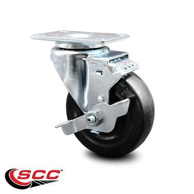 Hard Rubber Swivel Top Plate Caster W4 Wheel Brake 300 Lbs.caster