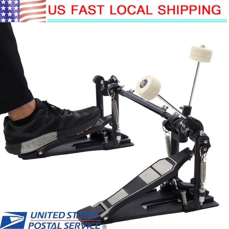 Double Bass Drum Pedal - Twin Kick Drum Pedal Dual Chain Percussion Black US
