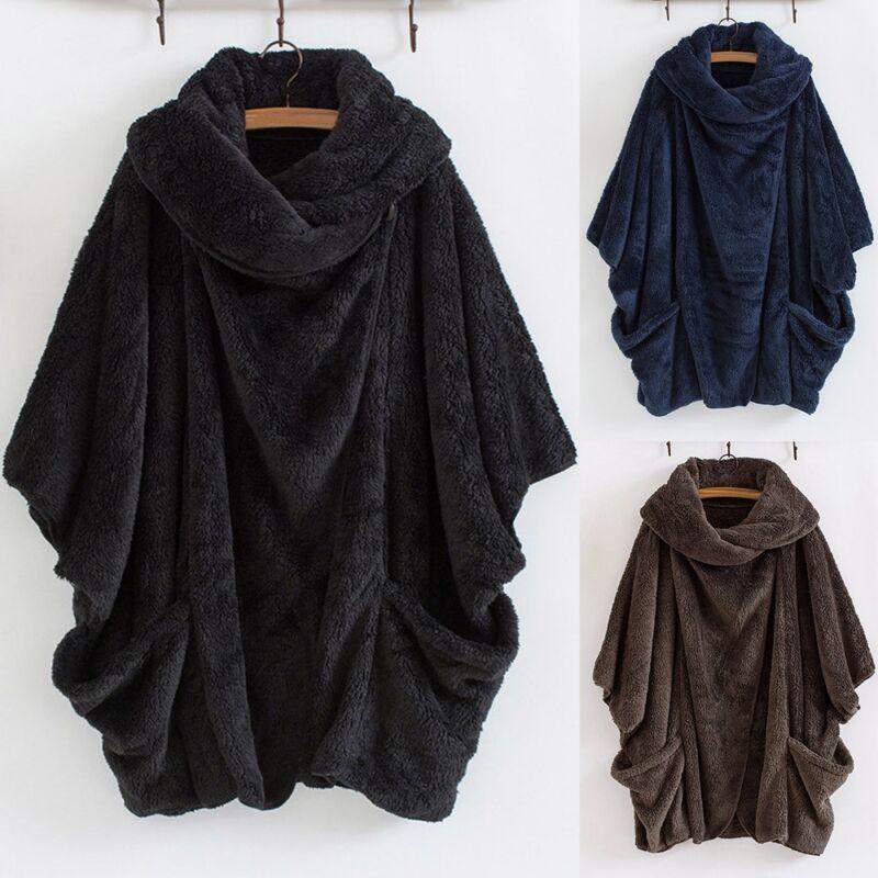 Women Bat Sleeve Turtleneck Big Pockets Cloak Coats Vintage Oversize Pullover