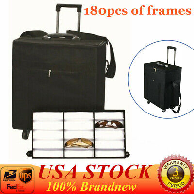 Eyeglasses Sunglasses Box Organizer Display Case Sample Box Travel Trolley 180pc