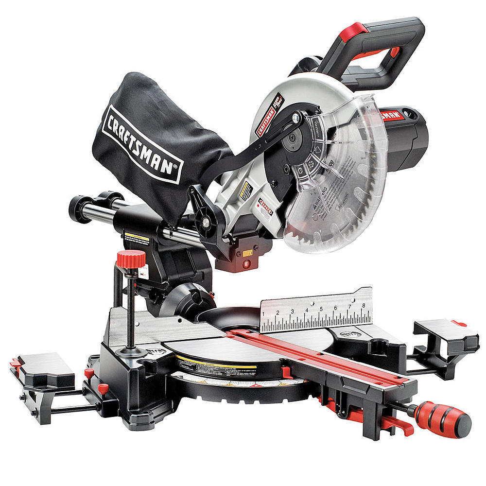 Craftsman 10`` Single Bevel Sliding Compound Laser Guided Miter Saw Precision NW