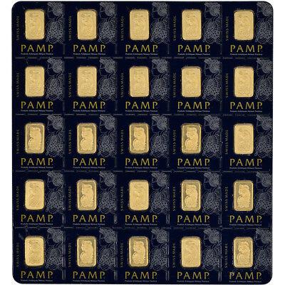 25x1 gram Gold Bar - PAMP Suisse - Fortuna - 999.9 Fine in Sealed Assay