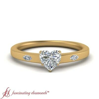 Bezel Set 3 Stone Engagement Ring With Heart Shaped Diamond In Center 0.60 Carat