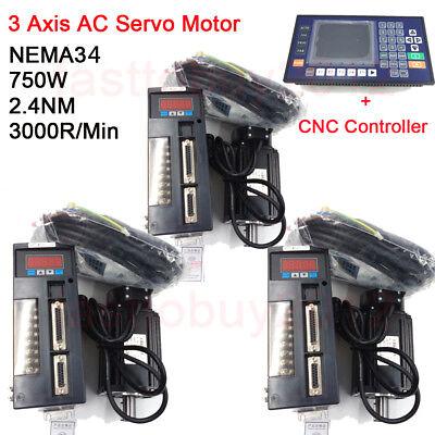 3 Axis Cnc Controller Ac Servo Motor Nema34 2.4nm 750w 3000rpm Kit For Milling