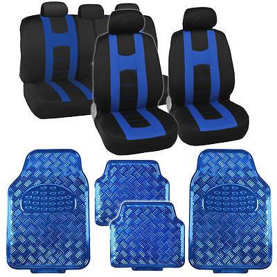 Racer Blue Sport Seat Covers Set w/ Shiny Vinyl Floor Mats Heavy Duty Full Set