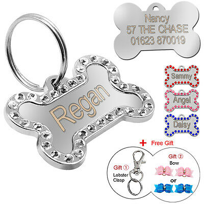 Engraved Pet Dog Tags Bling Rhinestone Cat ID Name Collar Tags Custom FREE Gift Dog Gift Tags