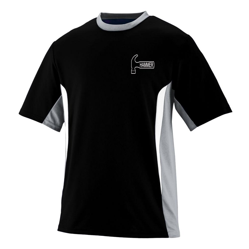 Hammer Men's Hawg Performance Jersey Bowling Shirt Dri-fit Black Gray