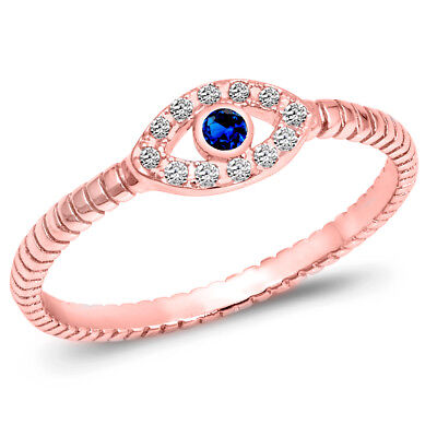 (Evil Eye Blue Sapphire CZ Rose Gold Ring 925 Sterling Silver Band Sizes 3-10 NEW)