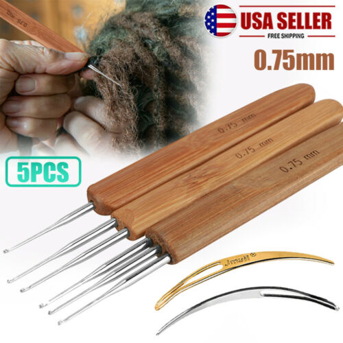 5X Crochet Handle Hook Bamboo Handle Dreadlock Knit Hair Making Braiding Tool Crafts