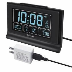 Auto Set Digital Alarm Clock with USB Charging Port 6.6 Inch Large Screen wit...