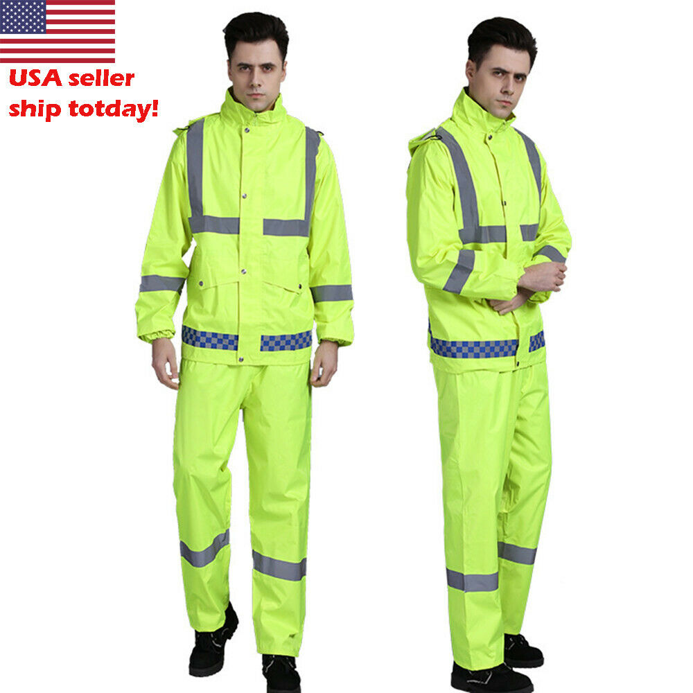 Reflective Waterproof Rain Jacket SET Suits Working Safety C