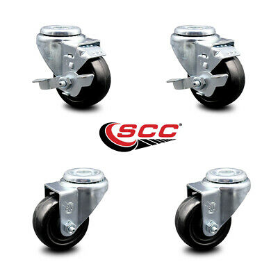 Hard Rubber Swivel Bolt Hole Caster Set 4 W3 Wheels - 2 Wbrakes