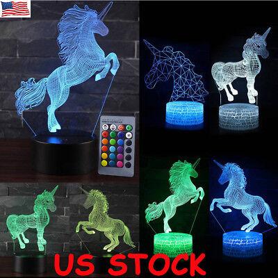 3D LED Night Light Unicorn series Remote Control LED Table Desk Lamp Home Decor - Decorate Desk