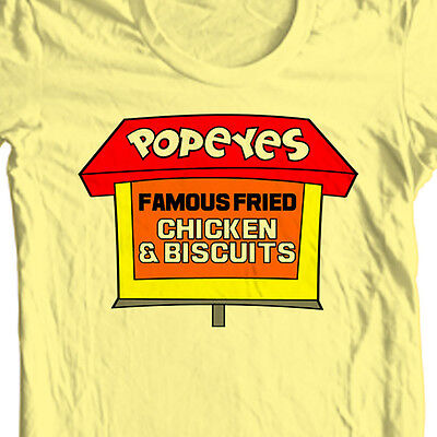Popeyes Fried Chicken T Shirt Retro Vintage Fast Food 100  Cotton Yellow