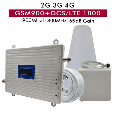 65dB Gain GSM 900 DCS LTE 1800 2G 4G Dual Band Cellular Mobile Signal Repeater  Dual Band Gsm 900 1800