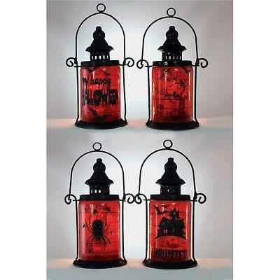 HLW6202 Lighted Metal Lantern Halloween Scene Glass Table Decoration Night Light](Halloween Hlw)