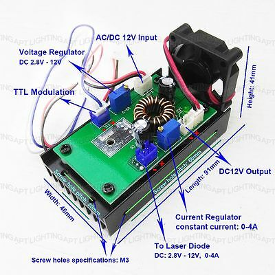 445nm 450nm 1w3.8w Blue Laser Module Driver Board 12vttlheat Sinkfan
