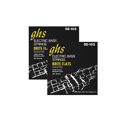 2-Pack GHS Brite Flats Flatwound Medium/Light Electric Bass Strings 52-103