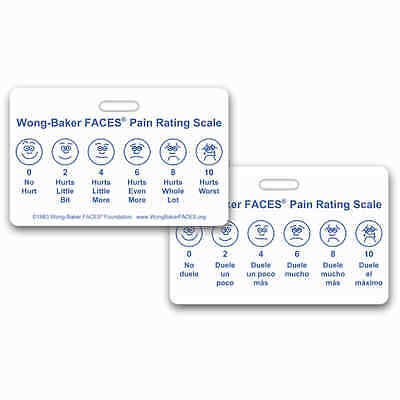 Wong-Baker FACES® Pain Rating Scale Horz w/ Spanish RN EMT Paramedic MA MD (Wong Baker Faces Pain Rating Scale Spanish)