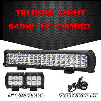 "17"" 540W TRI-ROW CREE LED LIGHT BAR COMBO+2X 4"" 18W FLOOD WORK LAMP ATV UTV 4WD"