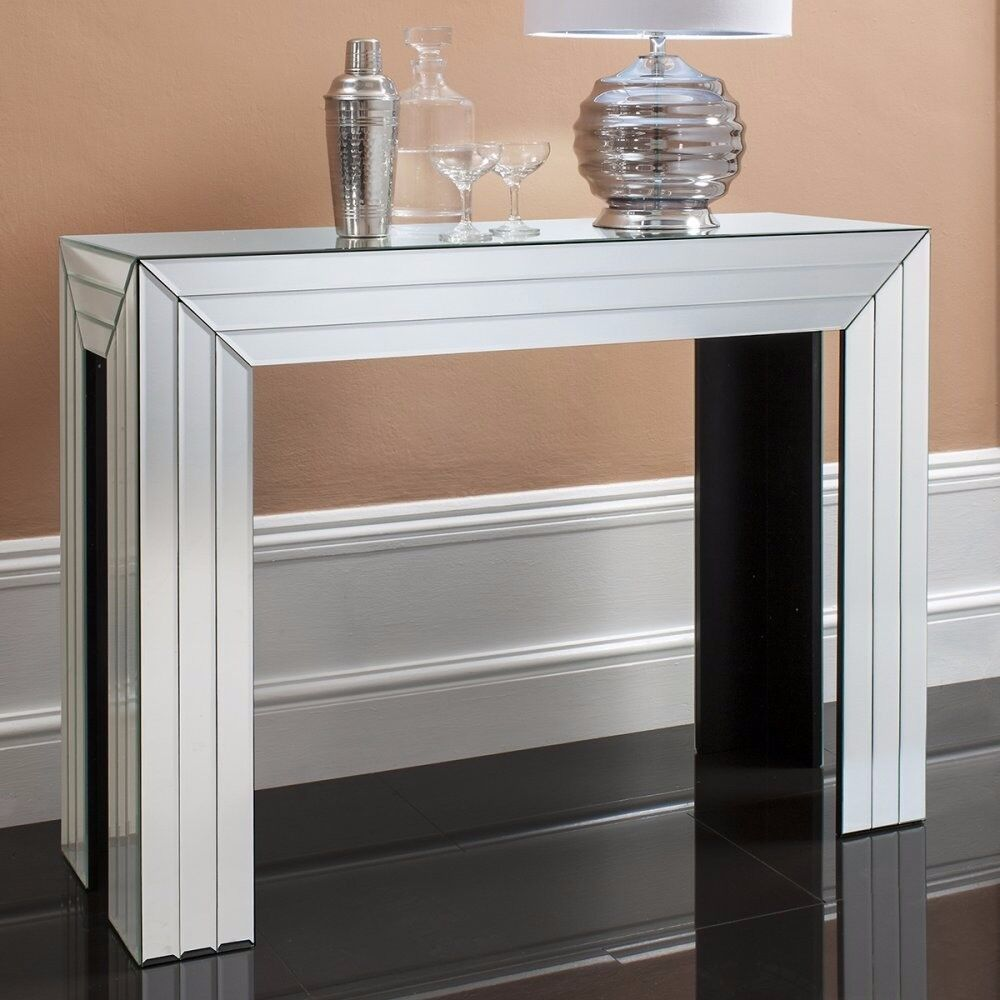 1 x Corona Bevelled Mirrored Console Table by Gallery Direct