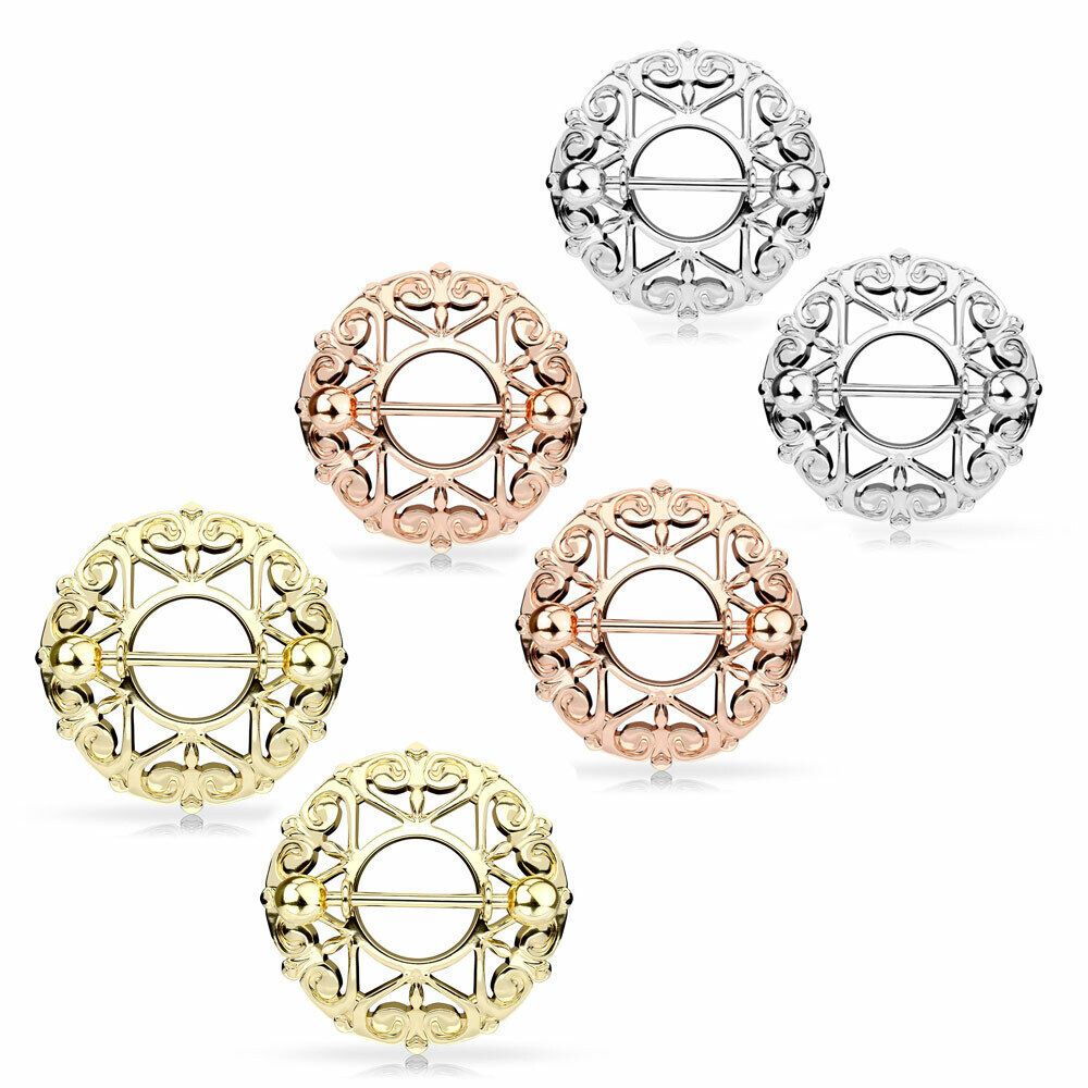 Pair Heart Round Nipple Shield Rings Rose Gold Tone Stainles