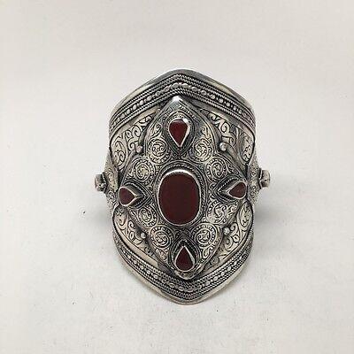 Big Vintage Afghan Turkmen Tribal Oval Shape Carnelian cuff bracelet, BR30