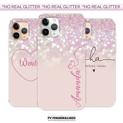 PERSONALISED PINK INITIALS NAME SILICONE PHONE CASE COVER APPLE IPHONE 7 8 11 XR