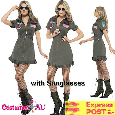 Ladies Top Gun 80s Womens Military Costume 1980s Aviator Pilot Fancy Dress 80's