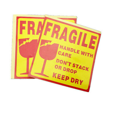250pcs Large Fragile Stickers Handle With Care Warning 100mmx100mm