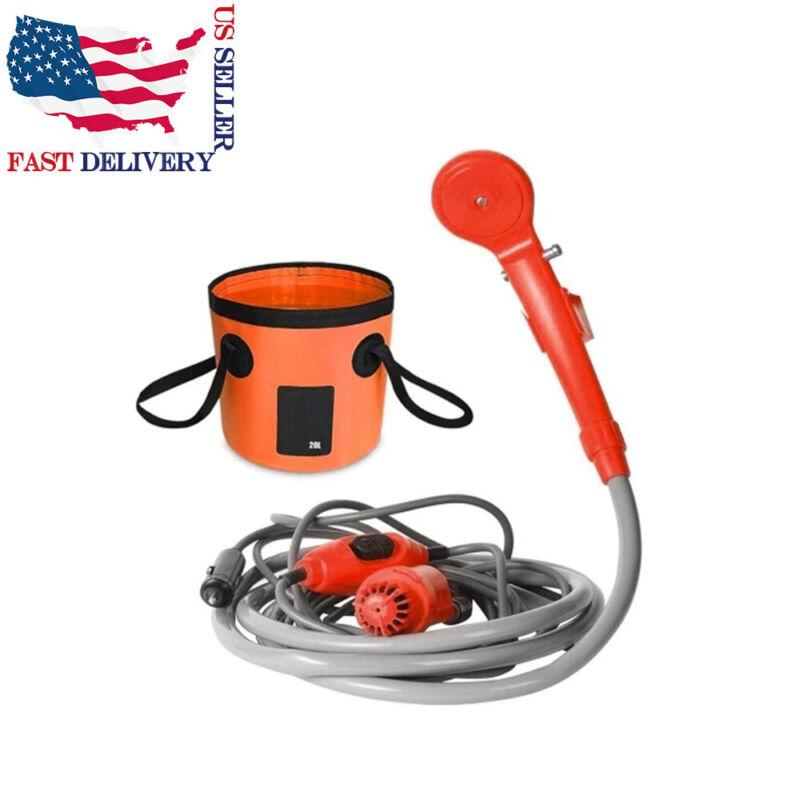 12V Portable Handheld Outdoor Car Shower Kit Camping Travel Water Spray Pump USA