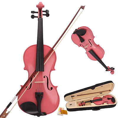 New School Basswood Full Size 4/4 Acoustic Violin + Case + Bow + Rosin Pink