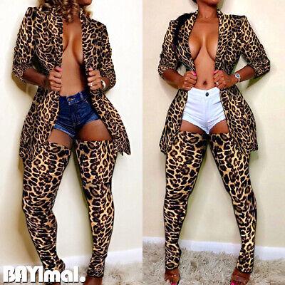 Womens Leopard Long Sleeve Blazer Suit Coat Ladies Casual Jacket Long Socks Sets