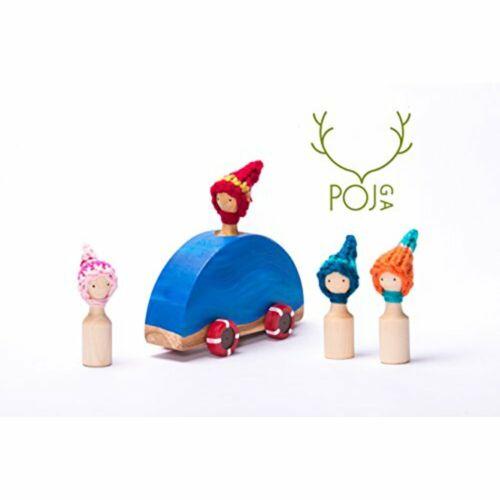 Wooden Car Set - Handmade Family in Boat Detachable Figures