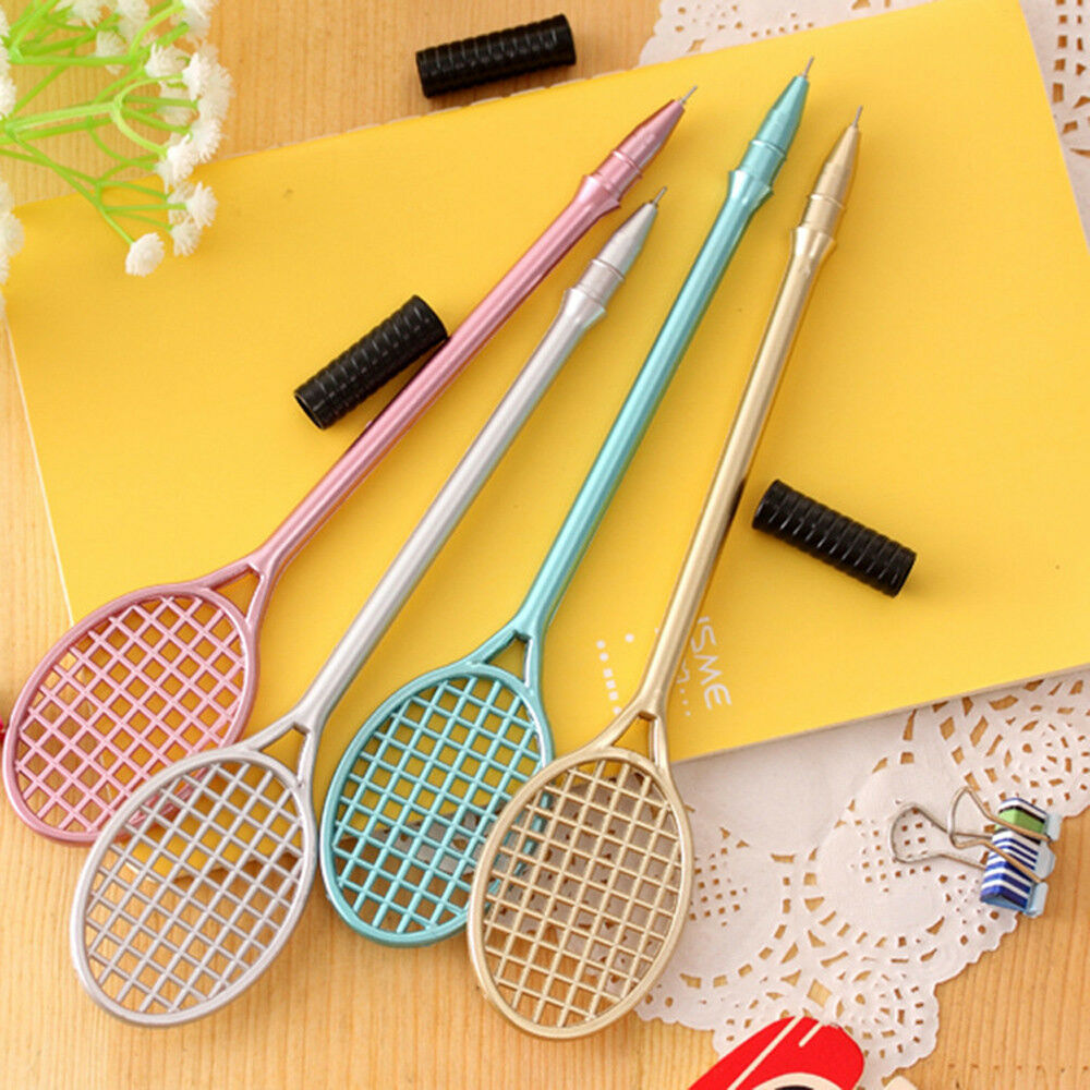 4PCS Cute Tennis Racket Pens Creative Stationery Student Gift Writing Pen