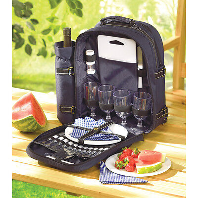 DELUXE 30 PC PICNIC SET SERVE FOR 4 INSULATED GOURMET BACKPACK HIKING~33037