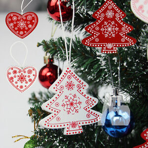 12pcs Christmas Tree Decorations Quality Wooden Shabby Chic Nordic Vintage Style
