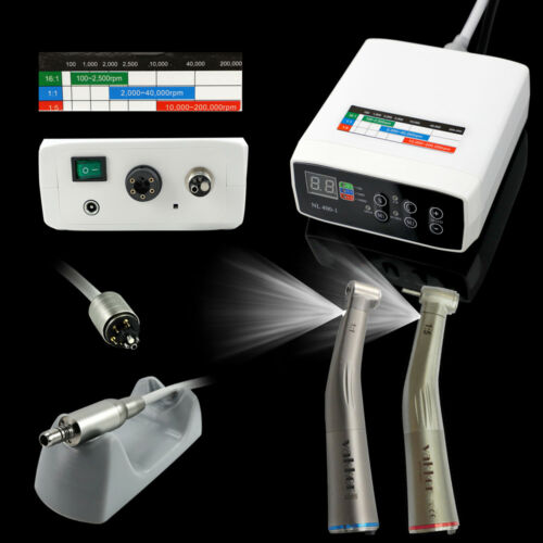 NSK Internal Spray Dental Electric Motor + 1:1 + 1:5 LED Handpiece Contra Angle Business & Industrial