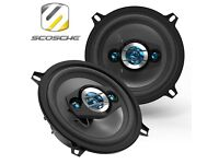 "Scosche HD5254 5.25"" 200w Car Van Audio Shelf Door Panel Speakers - Pair"