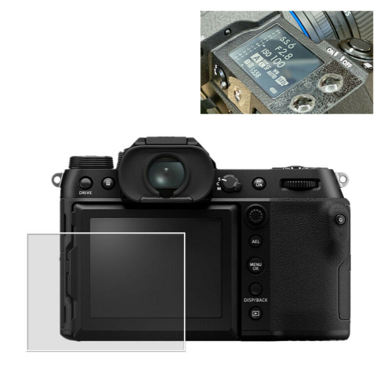 Tempered Glass Display LCD + Top Info Screen Protectors for Fujifilm GFX100S