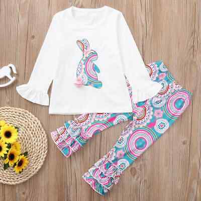NEW Easter Bunny Rabbit Girls Long Sleeve Shirt Ruffle Leggings Outfit Set
