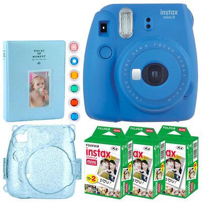 Fujifilm Mini 9 Haziness Camera (Cobalt Blue) + Instax 60 + For fear of the fact + Album + Filters