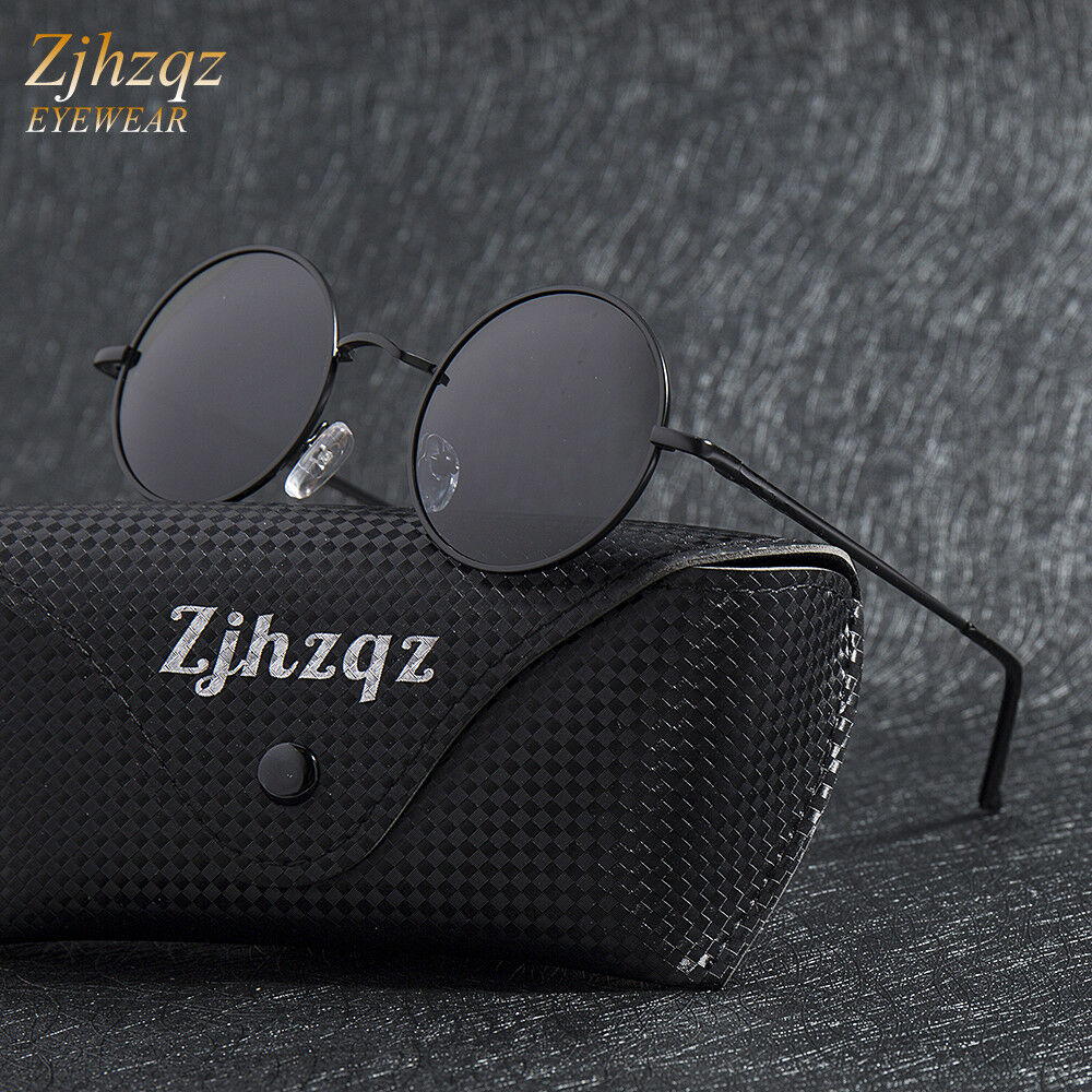 Mens Classic Polarized Sunglasses Metallic Retro Vintage Small Round Frame Lens
