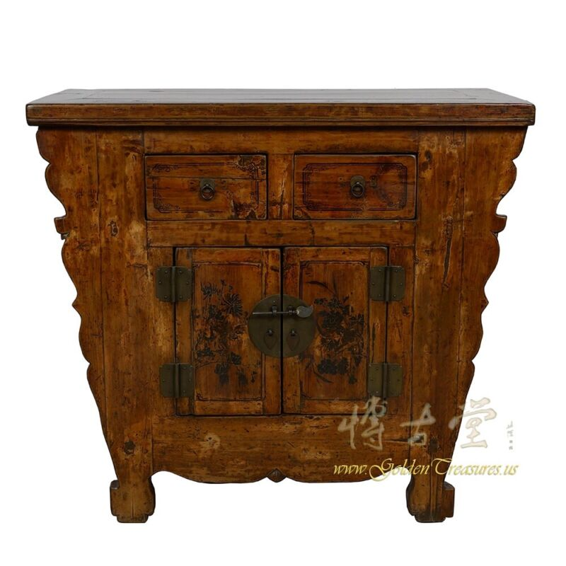 Antique Chinese Qing Dynasty painted chest Cabinet