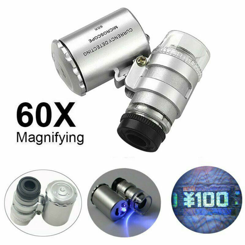 60X Magnifying Loupe Jewelry Jewelers Pocket Magnifier Loop Eye Coins Led Light