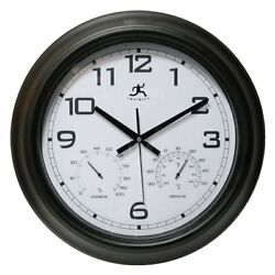Infinity Instruments Seer 18 in. Outdoor Wall Clock, Black